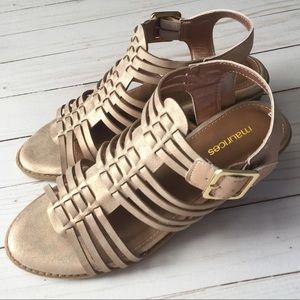 Emily Gold Block Heel Sandal Heels